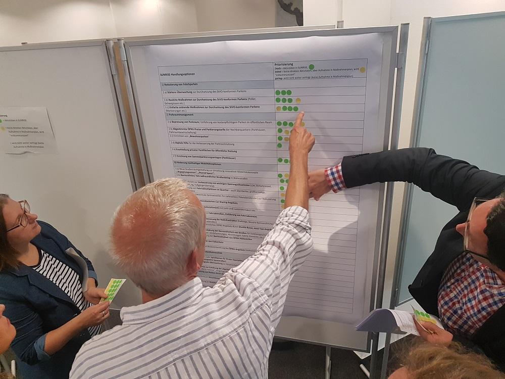 Die Teilnehmenden priorisieren die Handlungsoptionen zunächst einzeln.